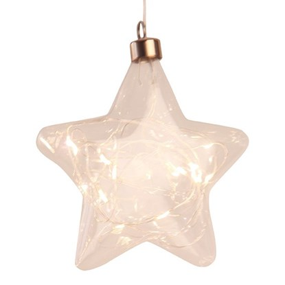 Glas, star w. 20 LED on string, Dia17cm_0